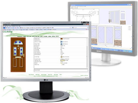Window industry software showing online door and panel products and the bays and bows Caliburn Fusion module.