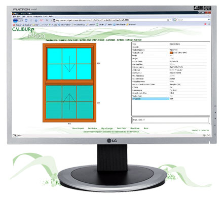 Sliding window being built using Caliburn Fusion online. Featured on an LG lcd monitor.